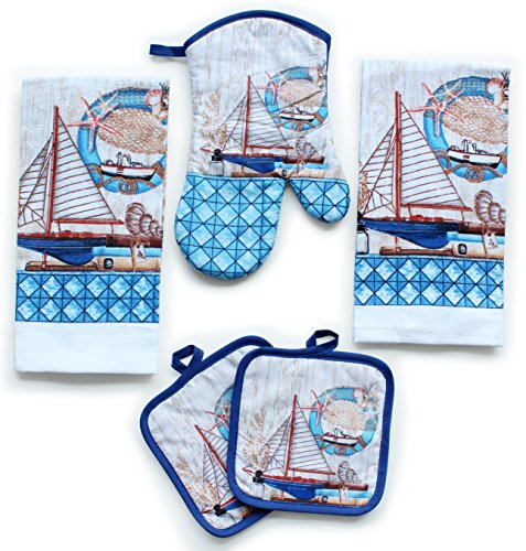 Kitchen Decor Linen Set Includes 2 Dish Towels, 2 Square Pot Holders, 1 Oven Mitt | Decorative Sailboats Printed Kitchen Towels Set For Cooking, Baking, Housewarming and Decoration (Set of 5 Piece)