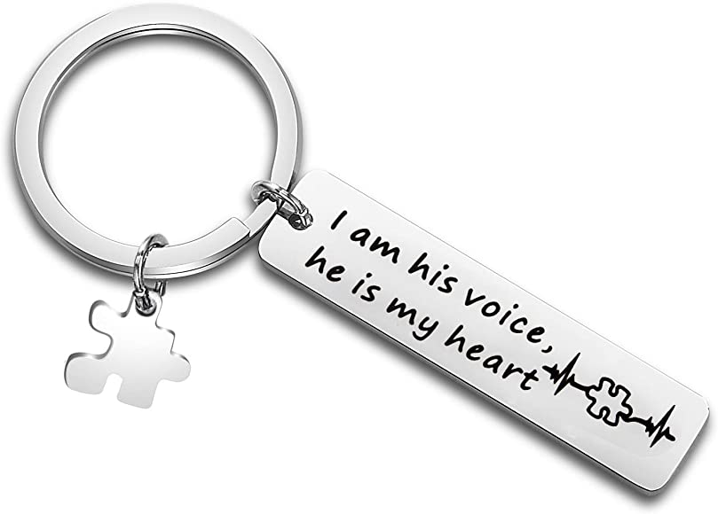 Autism Awareness Keychain I Am His Voice He is My Heart Keychain with Puzzle Piece Charm Autism Mom Gift