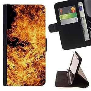 BullDog Case - FOR/Sony Xperia M2 / - / flames hell devil symbol yellow fire /- Monedero de cuero de la PU Llevar cubierta de la caja con el ID Credit Card Slots Flip funda de cuer