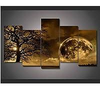 hhlwl HD Stampato 5 pannelli su tela verde aurora boreale lago collina notte pittura soggiorno decorazione-30x40/60/80cm-no cornice
