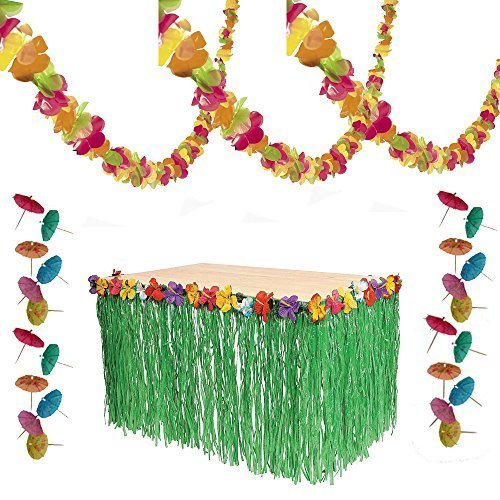 [Luau Party Decorations - Lei Garland, Grass Table Skirt, 144 Paper Cocktail Umbrellas] (Luau Party Supplies)
