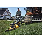 Dewalt 20v max lawn mower, 3-in-1, 2 batteries (dcmw220p2) 20 push mower comes with powerful brushless motor and (2) 20v max* batteries working simultaneously for high power output. 3-in-1 push lawn mower for mulching, bagging and side discharging battery lawn mower has heavy-duty 20-inch metal deck