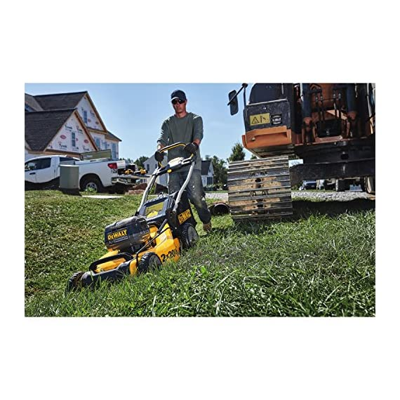 Dewalt 20v max lawn mower, 3-in-1, 2 batteries (dcmw220p2) 4 push mower comes with powerful brushless motor and (2) 20v max* batteries working simultaneously for high power output. 3-in-1 push lawn mower for mulching, bagging and side discharging battery lawn mower has heavy-duty 20-inch metal deck
