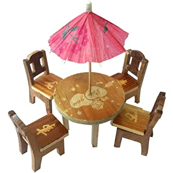 Online Collection Cute Wooden Doll House Miniature Dinning Table for Kids 3+ Years