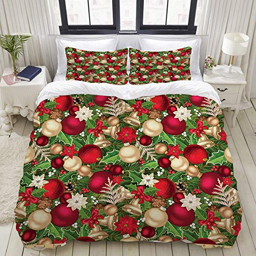 Flower Bell Large Cone - VAMIX Duvet Cover Set, Tree Branches Spruce Leaves Balls Bells Cones Poinsettia Flowers Mistletoe BerryMulticolor, Decorative 3 Piece Bedding Set with 2 Pillow Shams, Twin Size