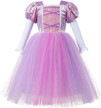 Disfraz de la princesa Rapunzel para niña, de color rosa: Amazon ...