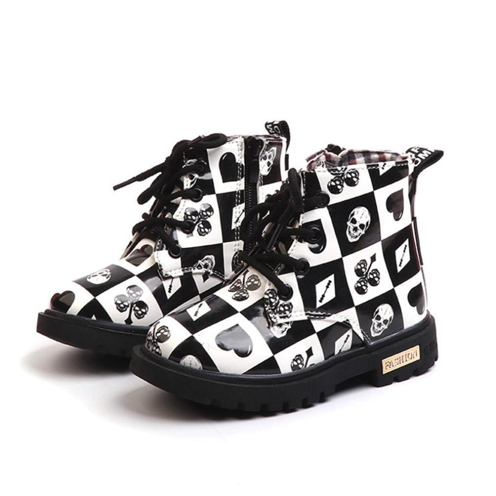 Matoen Children Boys Girls Martin SneakerCartoon Print Boots Kids Baby Black and White Hearts Casual Shoes Boots (5.5, Black)