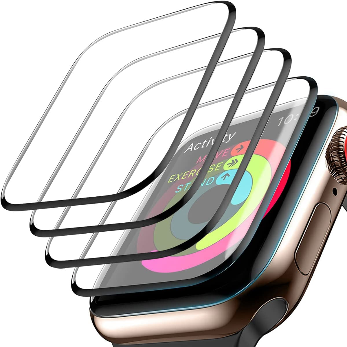 [4 Pack] Screen Protector for Apple Watch 42mm Series 3/2/1 3D Full Coverage Waterproof Anti-Scratch Bubble-Free HD Clear Screen Film for Apple Watch 42mm