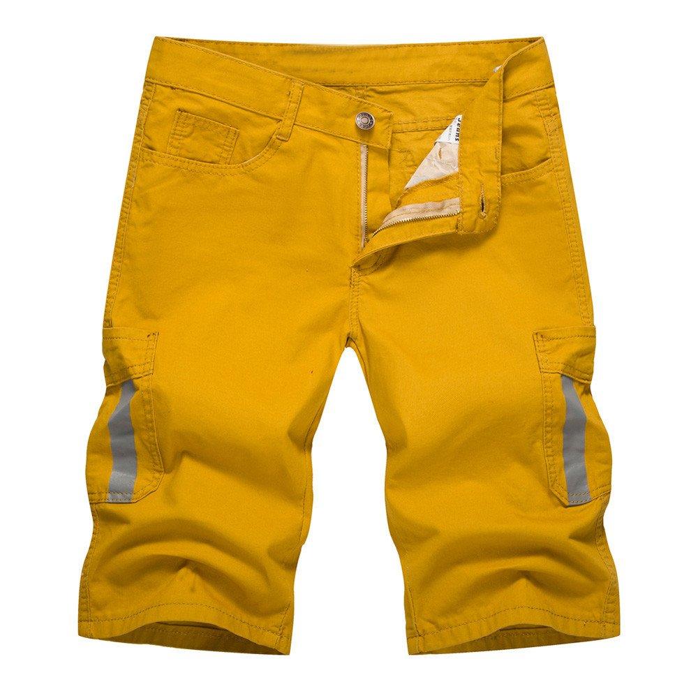 TANLANG Men's Elastic Belt Drawstring Summer Sports Shorts with Zipper Pocket Loose Overalls Casual Shorts Yellow