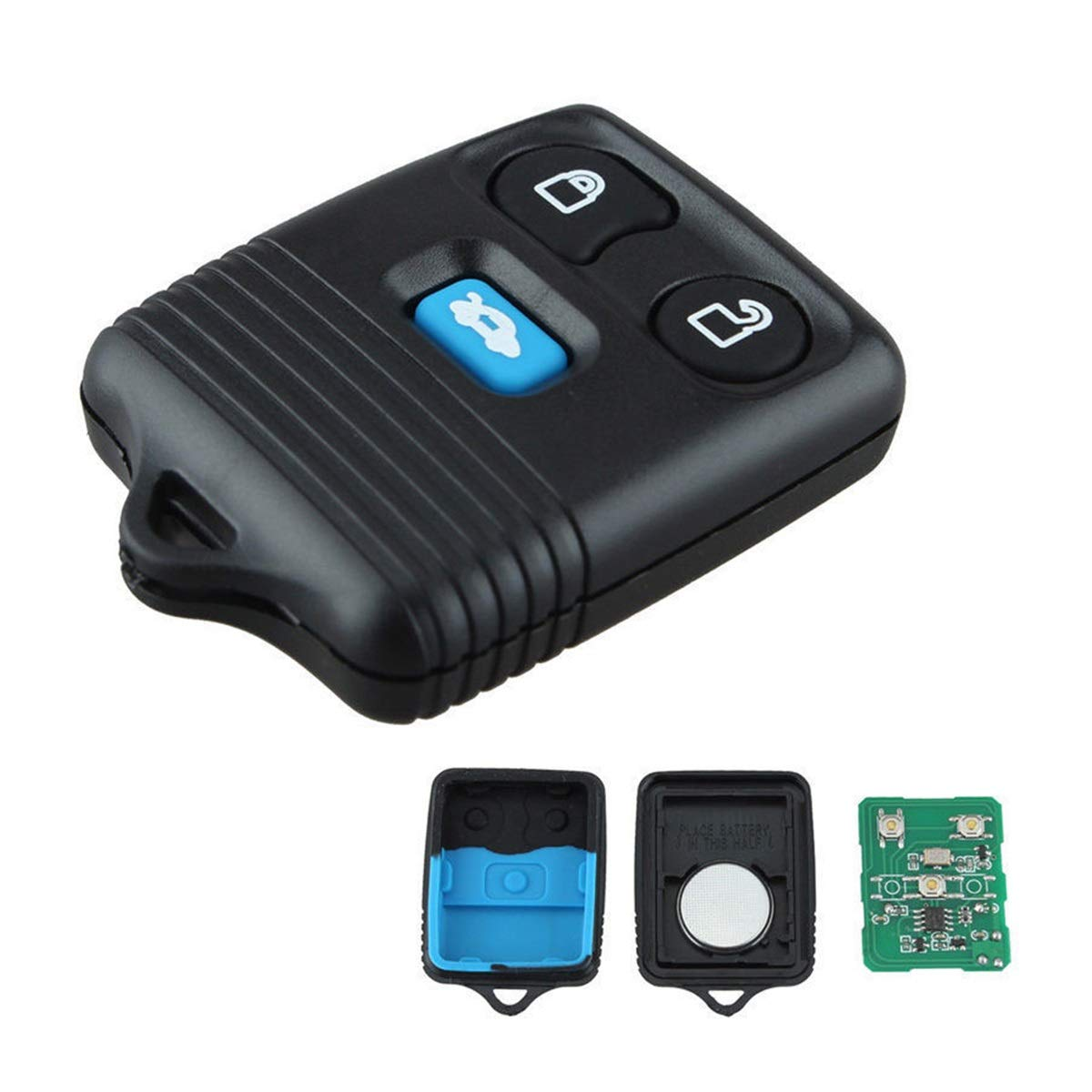 DEALPEAK 433MHz Programming Car Remote Key FOB Transmitter 3 Button Keyless Entry Remote Control Key Fob Fit to Ford Transit Mk6 2000-2006
