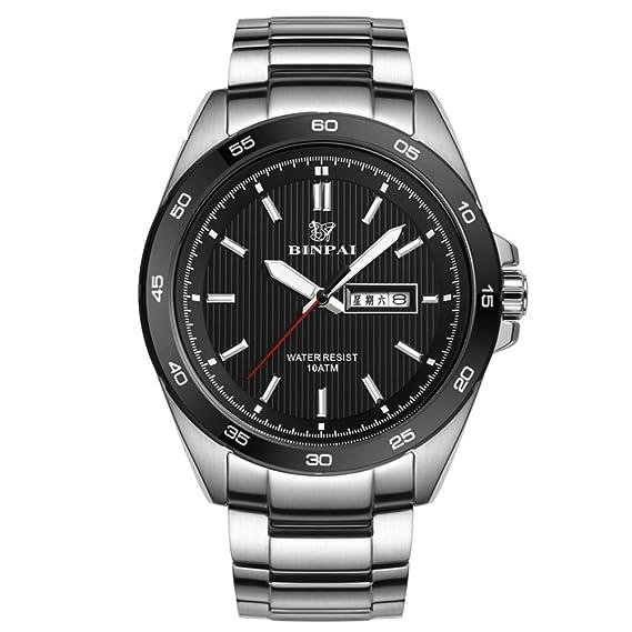 Hombre Reloj deportivo,Relojes militares Reloj de cuarzo 100m resistente al agua Luminoso Correa de