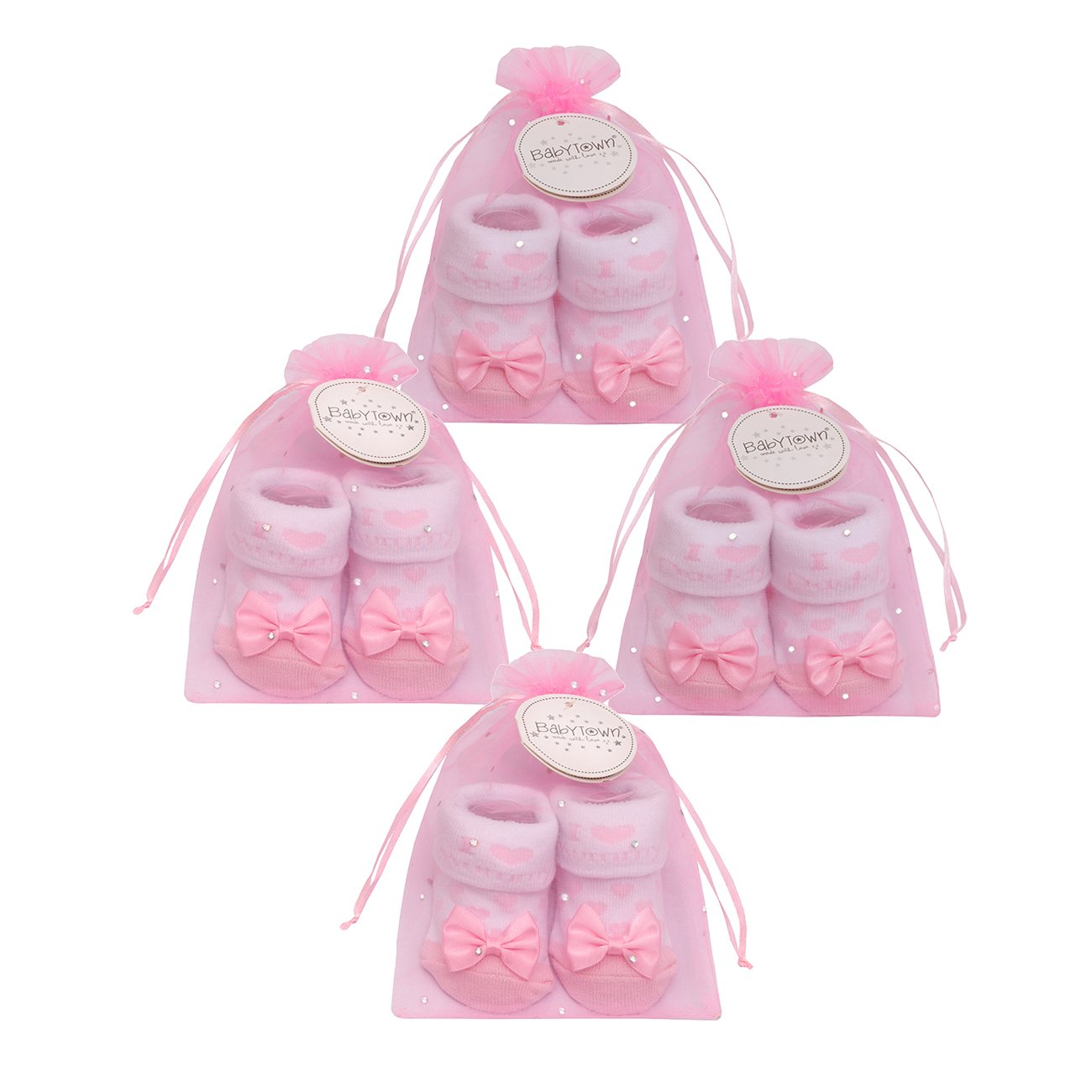 BabyTown Baby Girls I Love Mummy And Daddy Sock Set With Bow Baby Town