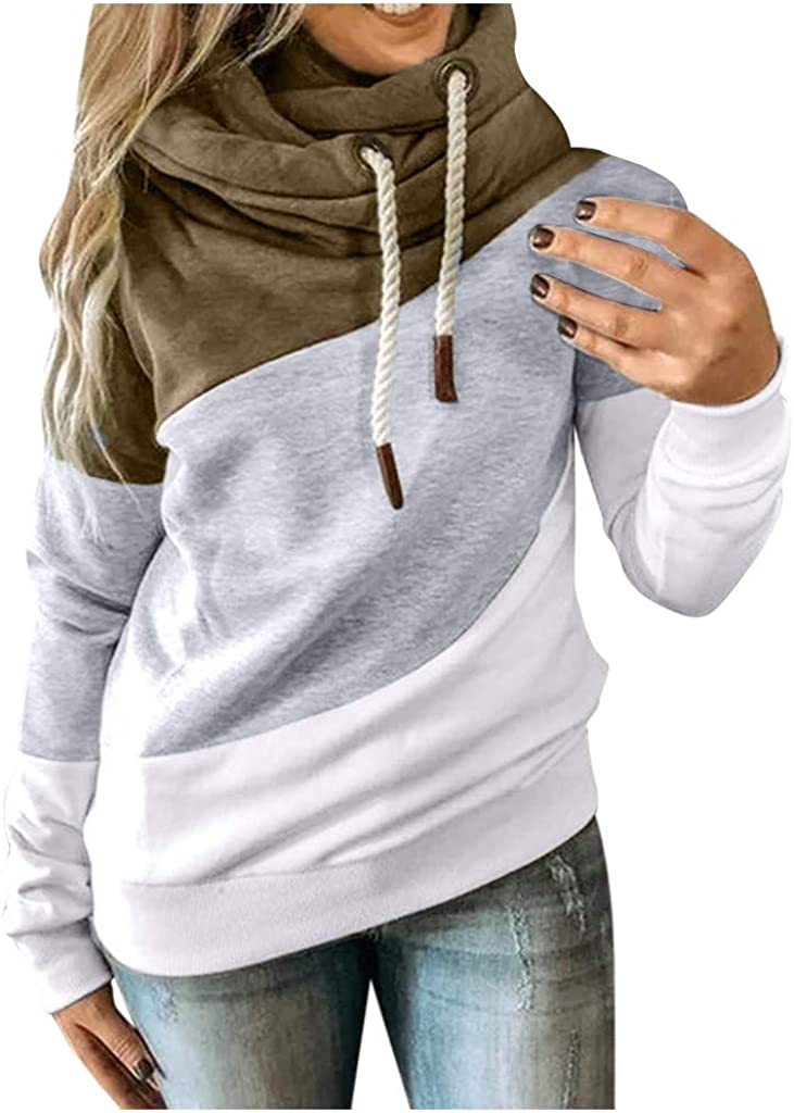 Wocachi Hoodies For Women, Cowl Neck Color Block Patchwork Fall Hoodie Sweatshirts Warm Basic Womens Hoodie Pullover