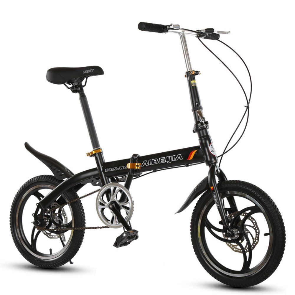 学生折りたたみ自転車, 折りたたみ自転車 レジャー 男女 型ディスク ブレーキ 子 Mtb 旅行 折り畳み自転車 B07D366HH6 16inch|黒 黒 16inch