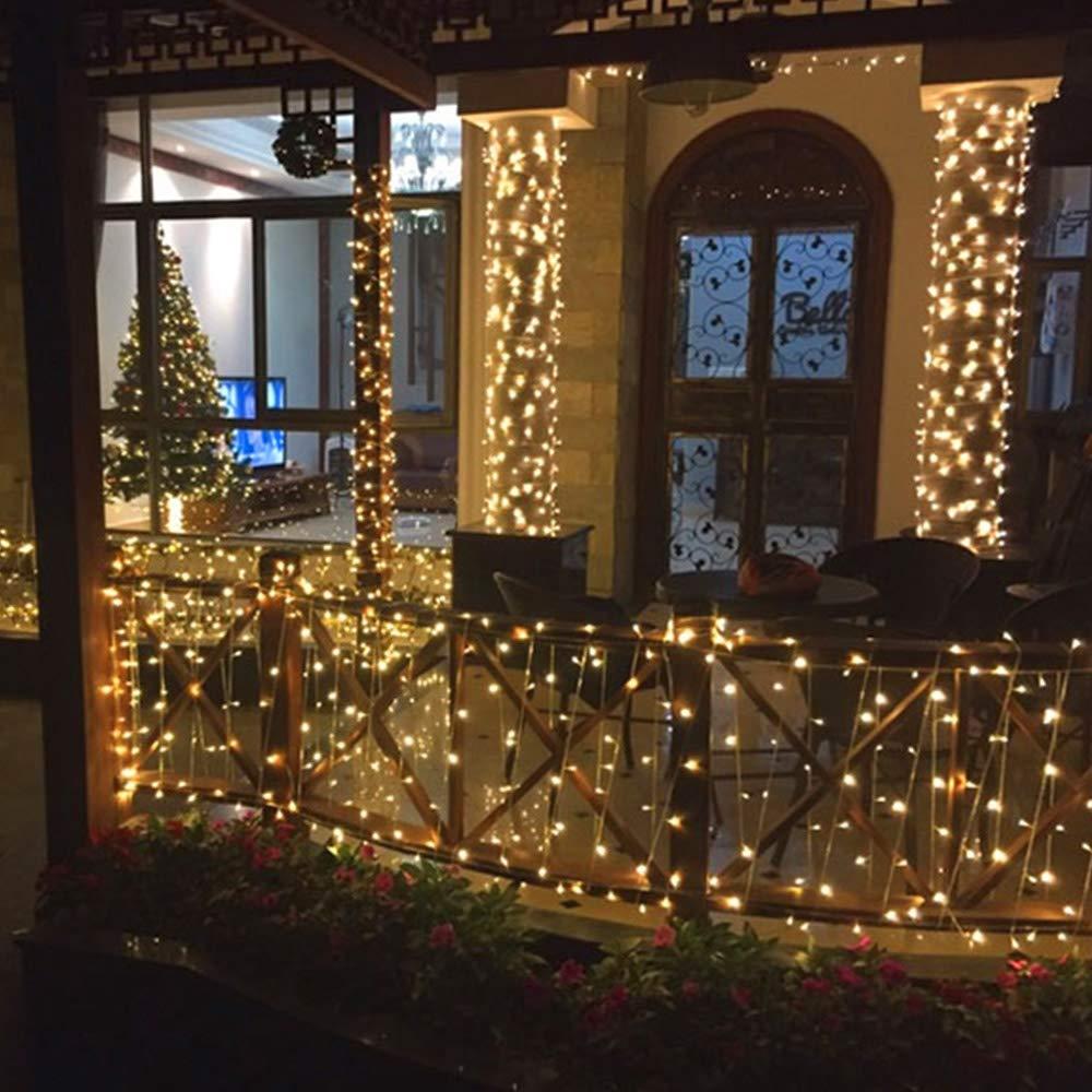 BrizLabs 25m 200 LED Cadena de Luces Decoraci/ón Interior para Casa Jard/ín Balc/ón Fiestas LED Luz Cadena Ligera Navidad Blanco Fr/ío Exterior Guirnalda Luminosa Impermeable con 8 Modos Temporizador