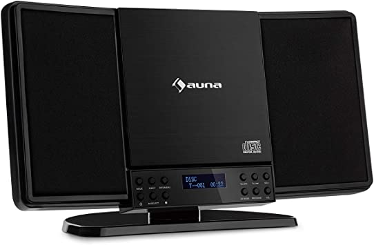 auna V14-DAB - Equipo estéreo Vertical, Bluetooth, Radio FM, Dab+, Reproductor de CD, Display, Entrada AUX, Temporizador de Apagado, Apto para Montar ...