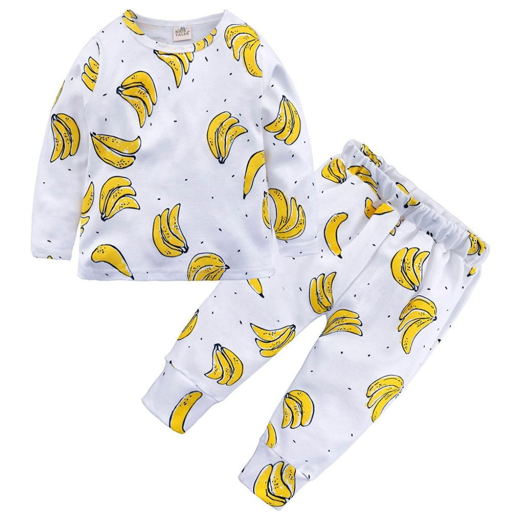 Fineser 2PCs Toddler Baby Boys Girls Pajama Set Kids Banana Print Pullover T-Shirt Pants Sleepwears