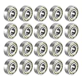 FFHH (Pack of 20) 608 ZZ Skateboard Bearings, Sackorange 608zz Double Shielded,8x22x7 Miniature Ball Bearings