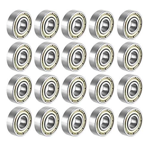 FFHH (Pack of 20) 608 ZZ Skateboard Bearings, Sackorange 608zz Double Shielded,8x22x7 Miniature Ball Bearings