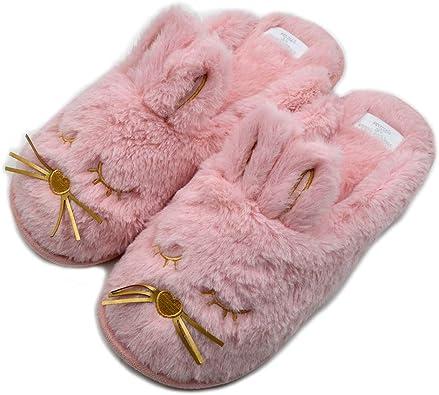 Rabbit Winter Flat Slippers For Women Cute Warm Furry Plush Indoor Home Slipper