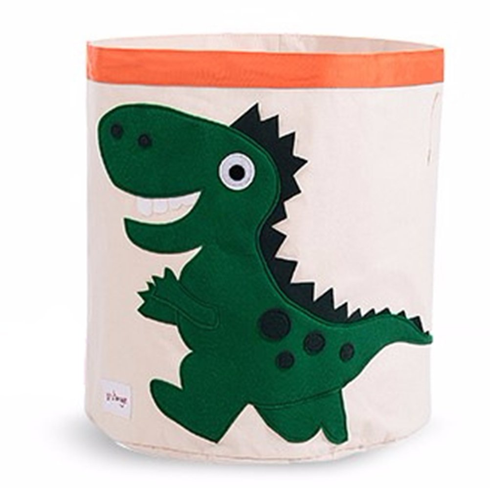Collapsible Canvas Storage Basket or Bin Toy Organizer for Kids Playroom, Clothes, Children Books, Stuffed Animal (Green Dinosaur)