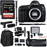 Canon EOS 5D Mark IV Full Frame Digital SLR Camera Body, Canon BG-E20 Grip, Sandisk Extreme 64GB U3 Card, Polaroid LED Video Light, Microphone, 72-inch Monopod, Ritz Gear Backpack & Accessory Bundle