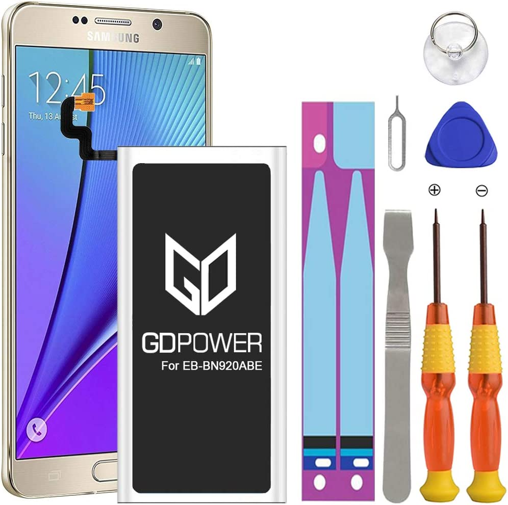 Galaxy Note 5 Battery, Upgraded GDPower 3300mAh High Capacity 0 Cycle Battery EB-BN920ABE Replacement for Samsung Galaxy Note 5 N920 N920V N920A N920T N920P N920R4 with Complete Tool Kits