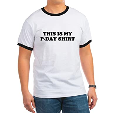 e004615c3 Amazon.com: CafePress - P-DAY SHIRT FUNNY MORMON MISSIONARY T-SHIRT Ringer  - Ringer T-Shirt, 100% Cotton Ringed T-Shirt, Vintage Shirt Black/White:  Clothing