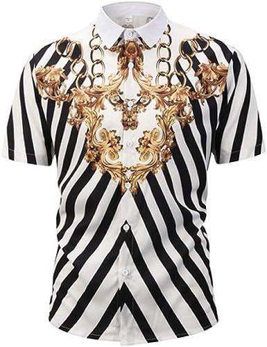 Camiseta de Manga Corta para Hombre, Camisa de Hombre 2019 Summer New Cardigan Camisa de Manga Corta para Hombre Modelo Cadena de Oro, XL: Amazon.es: Ropa y accesorios