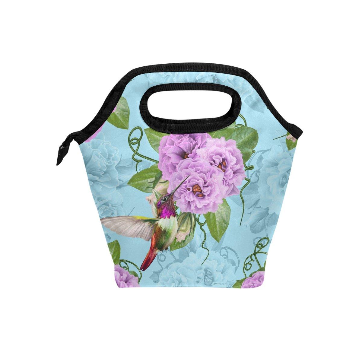 d7a58311efaa Amazon.com: Naanle Floral Hummingbird Insulated Zipper Lunch Bag ...