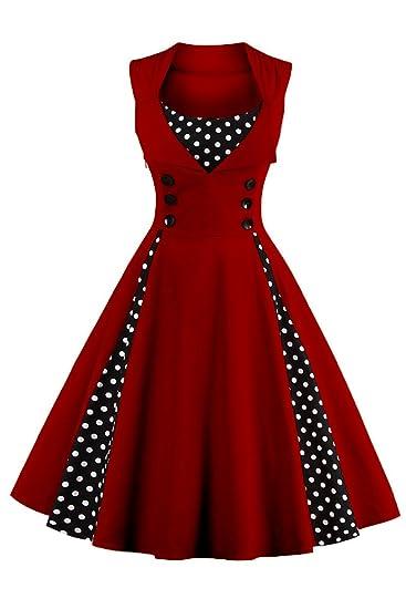 58d737bafadaa MisShow Women Striped 50s 60s Rockabilly Prom Party Gown Pinup Swing Dress