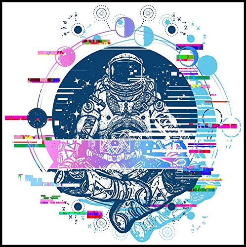 Cool Abstract Geometric Galaxy Astronaut with Moon Phases Art (Border Included Around Image as Shown) (2