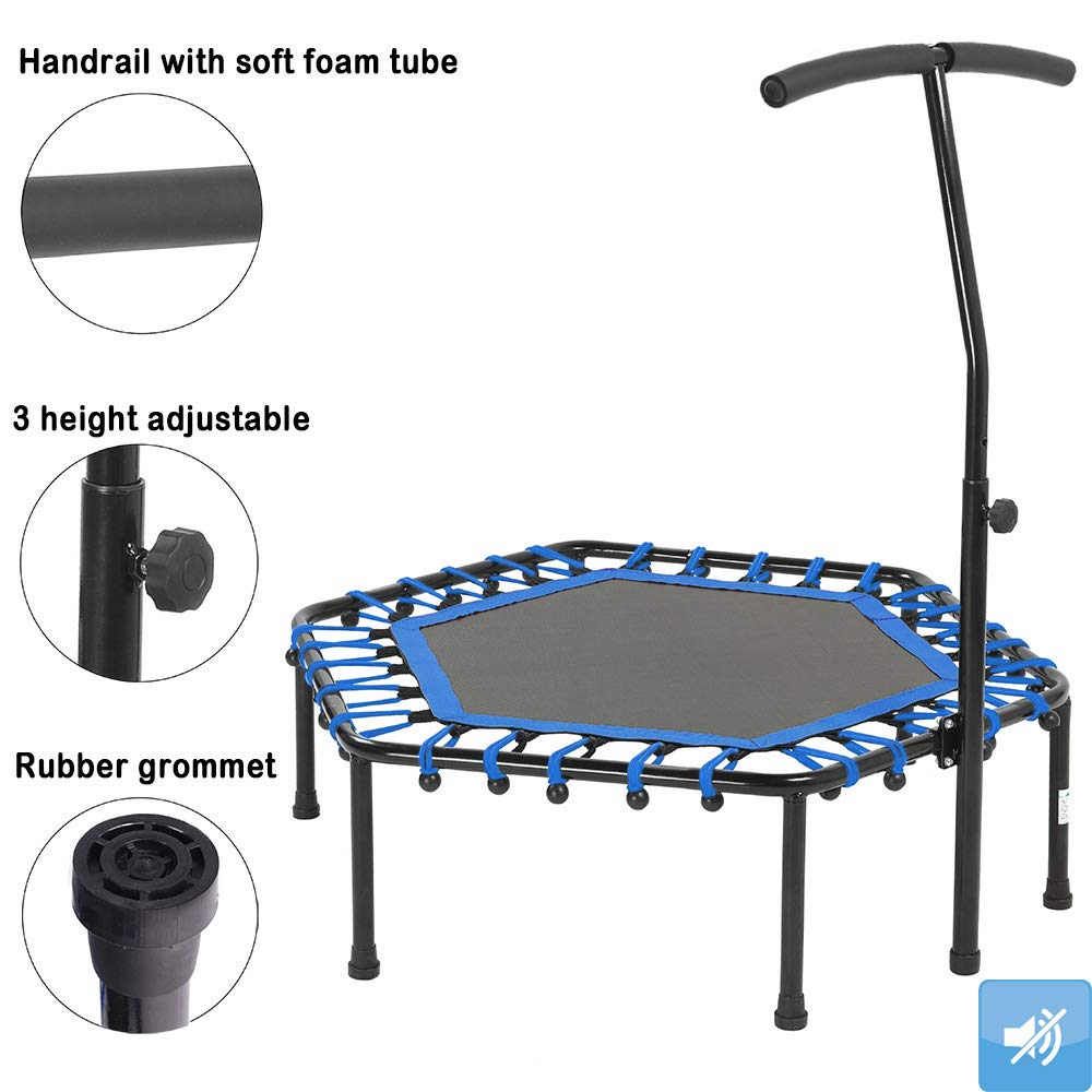 Safly Fun Fitness Trampoline Mini Trampoline with Adjustable Handle Bar, Indoor Trampoline Rebounder for Adults - Exercise Rebounder Home Trainer for Cardio Workout 40'' (Blue) by Safly Fun (Image #3)