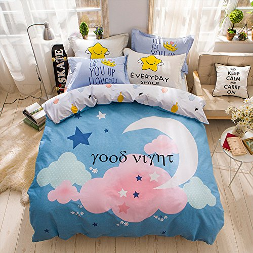 WarmGo Home Textile Duver Cover Set for Adult Girls Happy Every Day Smile Moon Bedding Sets 4 Piece£¨Include 2 Pillowcase) Full/Queen Size - without Comforter by WarmGo