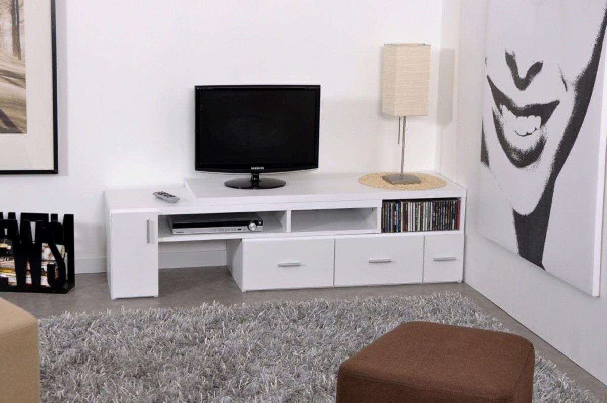 Meuble Tv Blanc Laque Pas Cher Free Comfort Home Innovation  # Meuble Tv Extensible Et Pivotant