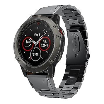 TopTen Garmin Fenix 5X - Correa de repuesto de acero inoxidable para reloj inteligente Garmin Fenix