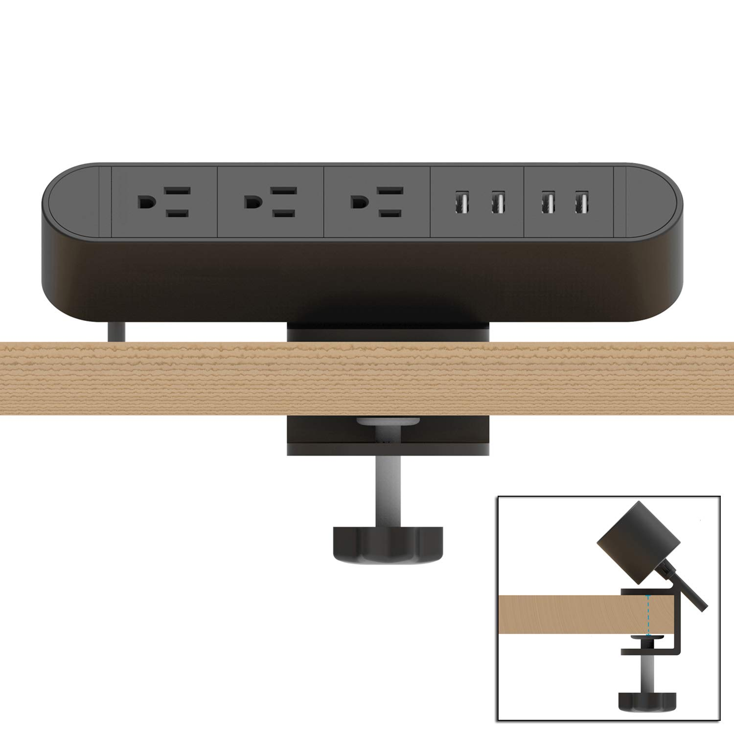 Desk Clamp Power Strip 3 Outlet with 4 USB,The Clamp Edge Mount Power Center,Aluminum Alloy Fireproof Power Strip,Removable Desktop Mount Multi-Outlets for Home Office Reading