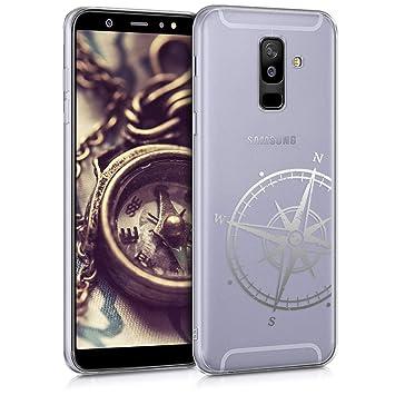 kwmobile Funda para Samsung Galaxy A6+/A6 Plus (2018) - Carcasa Protectora de [TPU] con diseño de Aguja magnética en [Plata/Transparente]