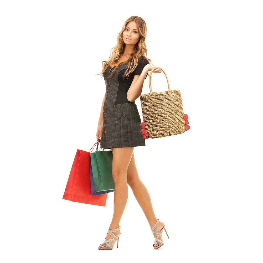 5fc3d9b47f5d Amazon.com : Hogoo Straw Tote Beach Bag for Womens Red Pom Poms ...