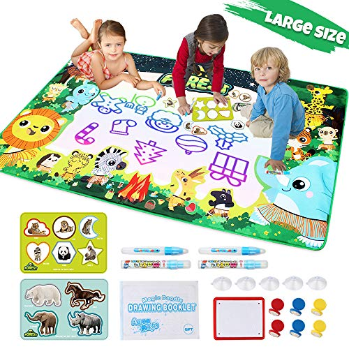 (Lefree Aqua Magic Mat Extra Large Size Water Doodle Mat Set 59 X 35.4in, Kids Painting,7 Vibrant Aqua Magic Colors Educational Drawing Mat Toddlers Toys with Pens,Gift for Boys, Girls, Age1-12)