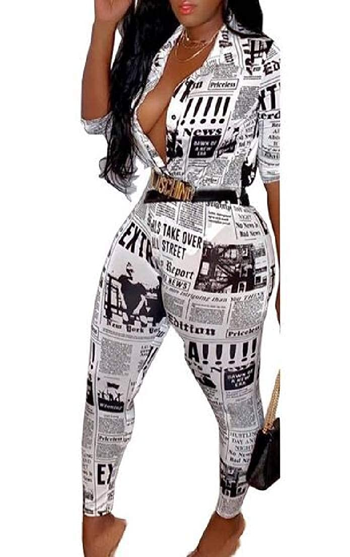 Fubotevic Womens 2 Piece Outfits Newspaper Print Crop Tops and Leggings Set