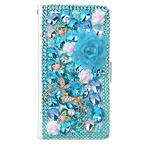 KAKA(TM) Fashion Phone Cover PU Leather White Wallet Case 3D Handmade Irregularity Blue Rhinestone Bling Colorful Crystal Design