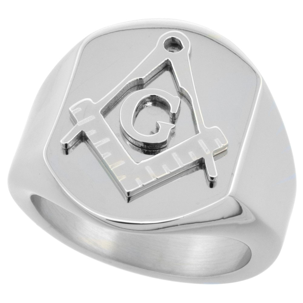 Surgical Stainless Steel Masonic Ring Square and Compass 3/4 inch, size 10.5 by Sabrina Silver