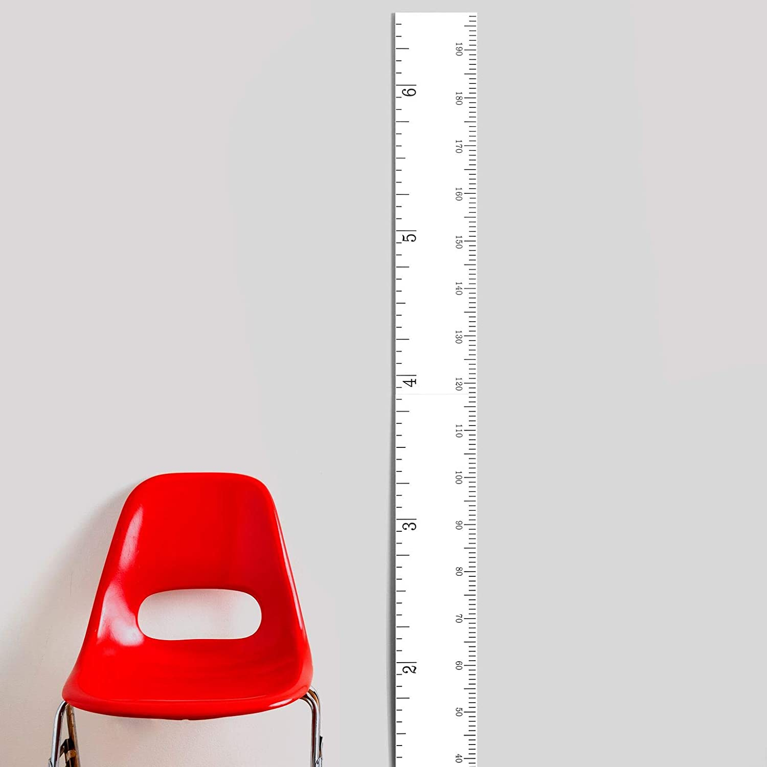 Schoolhouse Wooden Ruler Growth Chart for Kids, Boys & Girls | Wood Height Chart | White Washed