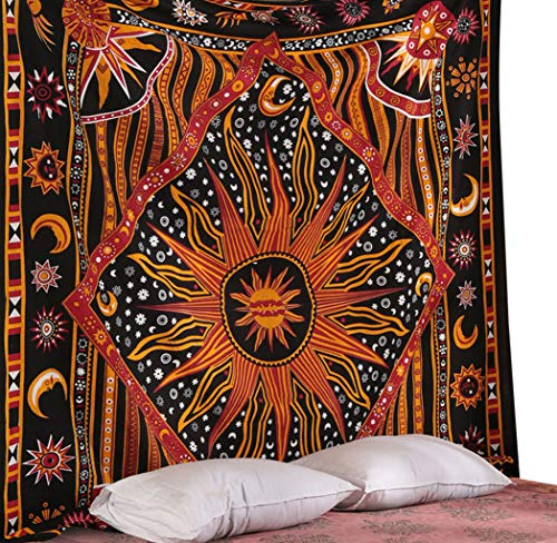 Exotic Tapestry - RAJRANG Golden Black Sun Star Tapestry Trippy Psychedelic Sun Moon Tapestries Exotic Celestial Wall Art Hanging Home Decor