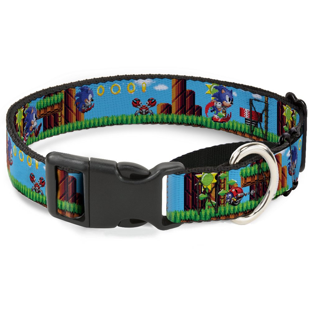 Buckle Down Dog Collar Martingale Sonic Tails Knuckles Pixelated Pose Move 18 to 32 Inches 1.5 Inch Wide