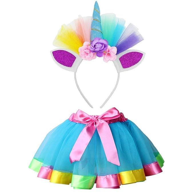 Cinnamou Conjuntos de Unicornio Niña Falda Tutu Princesa Flor Navidad Disfraz de Cosplay Conjunto con Diadema para Fiesta Ceremonia Carnaval Bautizo ...