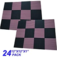 "24 Pack Black Acoustic Panels Studio Foam Wedges 1"" X 12"" X 12"" Sound-proofing,Sound Absorption (24pcs, black/coffee)"