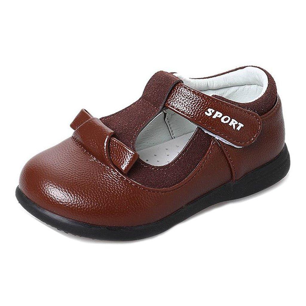 GIY Girl's Mary Jane Dress School Uniform Soft Maxu PU Round Toe Bows Design Dressy Flat Oxford Shoes