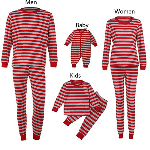 Christmas Pajamas - Family Matching Christmas Pajamas Sets Striped Blouse +Pants Sleepwear Outfits (XXL, Red-Men) ()
